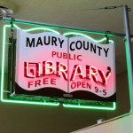 vintage library sign
